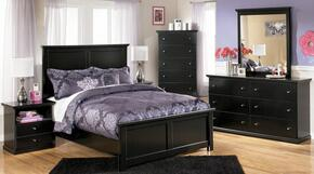 Cantrell Collection Twin Bedroom Set with Panel Bed, Dresser, Mirror and Nightstand in Black
