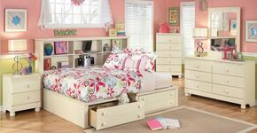 Cottage Retreat Full Bedroom Set with Bedside Storage Bed, Dresser, Mirror and Nightstand in Cream