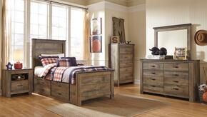 Trinell Twin Bedroom Set with Panel Bed with Drawers, Dresser, Mirror and Nightstand in Brown