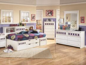 Zayley Twin Bedroom Set with Bedside Storage Bed, Dresser, Mirror and Chest in White