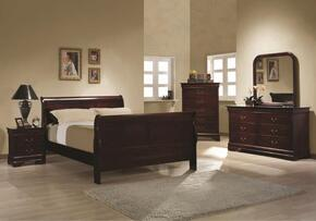 203971QSET4 Louis Philippe 4 Pc Bedroom Set in Cherry Finish (Bed, Nightstand, Dresser, and Mirror)