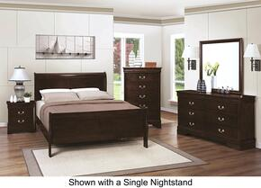 Louis Philippe 202411QDM2NC 6-Piece Bedroom Set with Queen Sleigh Bed, Dresser, Mirror, 2 Nightstands and Chest in Cappuccino Finish