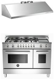 "Bertazzoni Stainless Steel 2-Piece Kitchen Package With PRO486GDFSXLP 48"" Professional Series Dual Fuel Freestanding Range and KU48PRO2X 48"" Professional Wall Mount Hood"