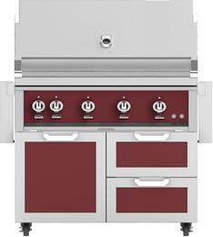 "42"" Freestanding Natural Gas Grill with GCR42BG Tower Grill Cart with Double Drawer and Door Combo, in Tin Roof Burgundy"