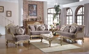 6 Piece Living Room Set with Sofa, Loveseat, Arm Chair, Coffee Table, End Table and Chaise in Pewter Gold