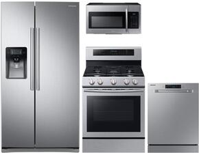 "4-Piece Stainless Steel Kitchen Package with RS25J500DSR 36"" Side-By-Side Refrigerator, NX58F5500SS 30"" Freestanding Gas Range, DW80J3020US 24"" Full Console Dishwasher and ME16H702SES 30"" Over The Range Microwave"