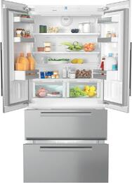 """5-Piece Stainless Steel Kitchen Package with KFNF9955IDE 36"""" French Door Refrigerator, KM3475G 36"""" Gas Cooktop, H6780BP 30"""" Single Wall Oven, DA2510 42"""" Cabinet Insert Hood, and G6625SCUCLST 24"""" Full Console Dishwasher"""
