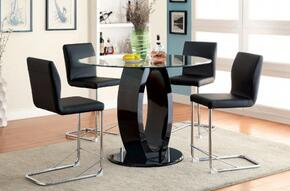 Lodia II Collection CM3825BKRPTTABLE4PC 5-Piece Dining Room Set with Round Table and 4 Bar Stools in Black