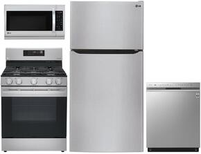 "4 Piece Kitchen Package With LDG4311ST 30"" Gas Freestanding Range, LMV1683ST 30"" Over The Range Microwave, LTCS24223S 33"" Bottom Freezer Refrigerator and LDF7774ST 24"" Built In Dishwasher in Stainless Steel"