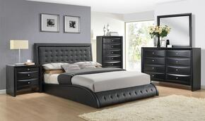 Tirrel 20657EK5PC Bedroom Set with Eastern King Size Bed + Dresser + Mirror + Chest + Nightstand in Black Color