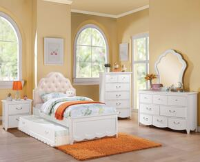 Cecilie 30300TSET 6 PC Bedroom Set with Twin Size Bed + Dresser + Mirror + Chest + Nightstand + Trundle in White Color