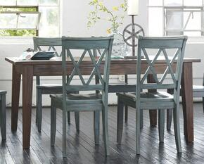 D540125101 Mestler Rectangular Dining Room Table with Four Antique Blue Side Chairs, Pine Veneers and Solids in Dark Brown