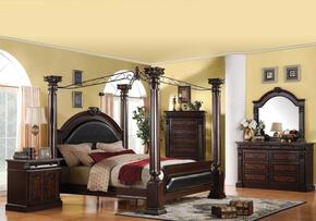 Roman Empire Collection 19340Q6PCSET Bedroom Set with Queen Size Canopy Bed + Dresser + Mirror + Chest + 2 Nightstand in Dark Cherry Finish