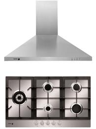 """2 Piece Stainless Steel Kitchen with FA-950STX 34"""" Gas Cooktop and 60CFP-36X 36"""" Wall Mounted Range Hood"""