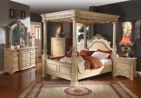 SIENNAPANELQSET Sienna White Finished Queen Sized Panel Bed + 2 Nightstands + Dresser + Mirror