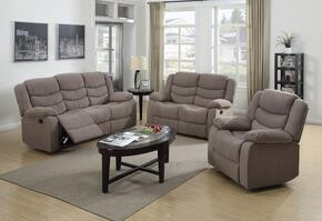 Jacinta Collection 51415SET 6 PC Living Room Set with Sofa + Loveseat + Recliner + 3 PK Table Set in Light Brown Color