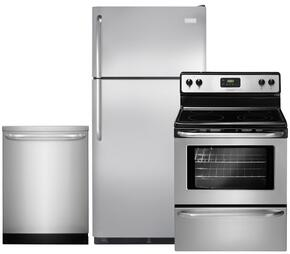 """3-Piece Stainless Steel Kitchen Package with FFTR18G2QS 30"""" Top Freezer Refrigerator, FFEF3043LS 30"""" Freestanding Electric Range and FFID2423RS 24"""" Fully Integrated Dishwasher"""