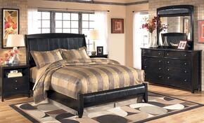 Flowers Collection Bedroom Set with King Size Sleigh Bed, Dresser, Mirror and Nightstand in Dark Brown
