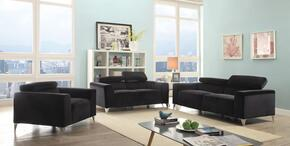 G336SET 3 PC Living Room Set with Sofa + Loveseat + Armhchair in Black Color