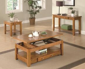 701438CES 3 PC Living Room Table Set with Coffee Table + End Table + Sofa Table in Amber Finish