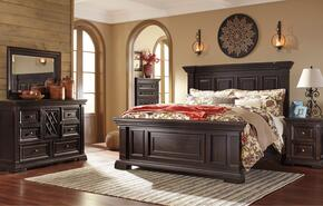Willenburg Queen Bedroom Set with Panel Bed, Dresser, Mirror and Nightstand in Dark Brown