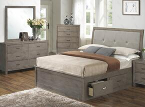 G1205BTSBDM 3 Piece Set including Twin Storage Bed, Dresser and Mirror in Gray