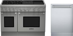 "2 Piece Stainless Steel Kitchen Package With PRD484NCHU 48"" Gas Freestanding Range and DWHD440MFM 24"" Dishwasher For Free"