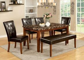 Elmore Collection CM3328T4SCBN 6-Piece Dining Room Set with Rectangular Table, 6 Side Chairs and Bench in Antique Oak Finish