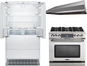 """3-Piece Kitchen Package with HCB2062 36"""" French Door Refrigerator, COB366N 36"""" Freestanding Gas Range, and MAES3610SS600B 36"""" Under Cabinet Convertible Hood in Stainless Steel"""