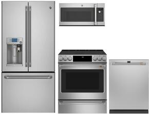 "4-Piece Stainless Steel Kitchen Package with CYE22USHSS 36"" French Door Refrigerator, C2S986SELSS 30"" Slide In Dual Fuel Range, CVM9179SLSS 30"" Over the Range Microwave, and CDT835SSJSS 24"" Fully Integrated Dishwasher"