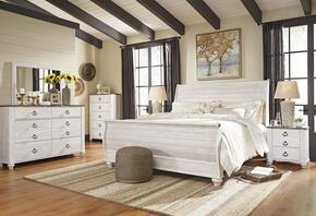 Jensen Collection King Bedroom Set with Sleigh Bed, Dresser, Mirror, 2 Nightstands and Chest in Whitewashed Color