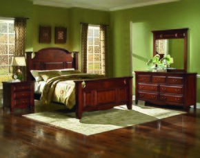 6740EBDMN Drayton Hall 4 Piece Bedroom Set with King Bed, Dresser, Mirror and Nightstand, in Bordeaux