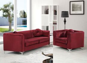 Isabelle Collection 6122PCARMKIT4 2-Piece Living Room Sets with Stationary Sofa, and Living Room Chair in Burgundy