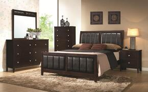 Carlton 202091QDMCN 5 PC Bedroom Set with Queen Size Bed + Dresser + Mirror + Chest + Nightstand in Cappuccino Finish
