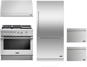 "4 Piece Kitchen Package With RGV2364GDL 36"" Gas Freestanding Range, DCS VS36 36"" Wall Mount Hood, RS36W80RJC1 36"" Built In Bottom Freezer Refrigerator and two DD24SV2T7 24"" Dishwasher Drawers in Stainless Steel"