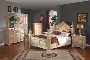 SIENNAPOSTKSET Sienna White Finished King Sized Poster Bed with Marble Posts + 2 Nightstands + Dresser + Mirror