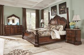 Ledelle Collection King Bedroom Set with Poster Bed, Dresser, Mirror and Nightstand in Dark Cherry