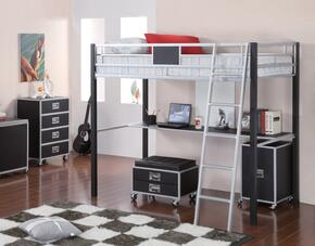 LeClair 46028TBCCH 3-Piece Bedroom Set with Twin Loft Bed, Cabinet and Chest in Silver and Black