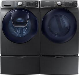 "Black Stainless Steel Front-Load Laundry Pair with WF50K7500AV 27"" Washer, DV50K7500GV 27"" Gas Dryer and 2 WE357A0V Pedestals"