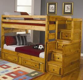 460096SC Wrangle Hill Full Over Full Bunk Bed + Stairway Chest in Amber Wash Finish