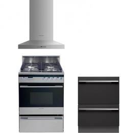 "3 Piece Kitchen Package With OR24SDPWGX1   24"" Dual Fuel Freestanding Range, DD24DI7 24"" Dishwasher and Free HC24PHTX1 24"" Wall Chimney Pyramid Hood In Stainless Steel"