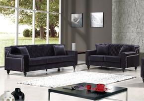 Harley Collection 6162PCSTLKIT3 2-Piece Living Room Sets with Stationary Sofa, and Loveseat in Black