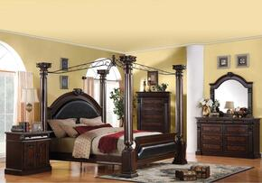 Roman Empire Collection 19326CK4PCSET Bedroom Set with  California King Size Canopy Bed + Dresser + Mirror + Nightstand in Dark Cherry Finish