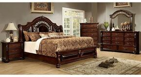 Flandreau Collection CM7588CKBDMCN 5-Piece Bedroom Set with California King Bed, Dresser, Mirror, Chest and Nightstand in Brown Cherry Finish