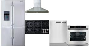 "5 Piece Stainless Steel Kitchen Package With DYCT365GBNGH 36"" Gas Cooktop, RNO230S208V 30"" Electric Cooktop, DYF30BFBSR 30"" Bottom Freezer Refrigerator, DHW301 Range Hood and DDW24S 24"" Built In Dishwasher"