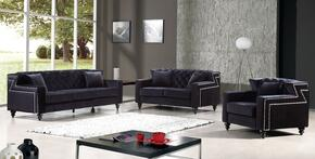 Harley Collection 739447 3-Piece Living Room Sets with Stationary Sofa, Loveseat and Living Room Chair in Black
