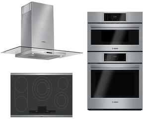 "3-Piece Stainless Steel Kitchen Package with NETP668SUC 36"" Smooth Cooktop, HCG56651UC 36"" Wall Mount Hood, and HBLP752UC 30"" Double Wall Oven"