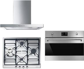 """3-Piece Kitchen Package with SR60GHU3 24"""" Gas Cooktop, SU45MCX1 24"""" Single Wall Oven, and KSM24XU 24"""" Wall Mount Hood"""