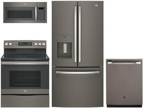 "4-Piece Slate Kitchen Package with GFE24JMKES 33"" French Door Refrigerator, JB655EKES 30"" Freestanding Electric Range,  JVM6175EKES 30"" Over the Range Microwave, and GDF610PMJES 24"" Full Console Dishwasher"
