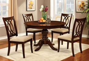 Carlisle Collection CM3778RT4SC 5-Piece Dining Room Set with Round Table and 4 Side Chairs in Brown Cherry Finish